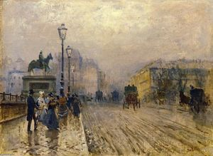 Giuseppe De Nittis - Rue de Paris with Carriages