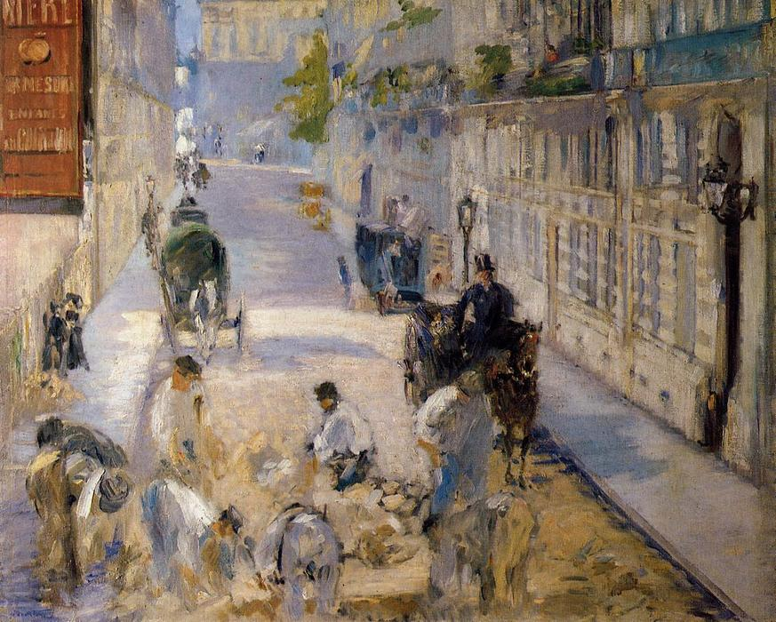 famous painting Rue Mosnier with Road Menders of Edouard Manet