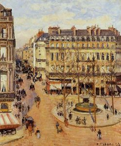 Camille Pissarro - Rue Saint-Honore: Morning Sun Effect, Place du Theatre Francais