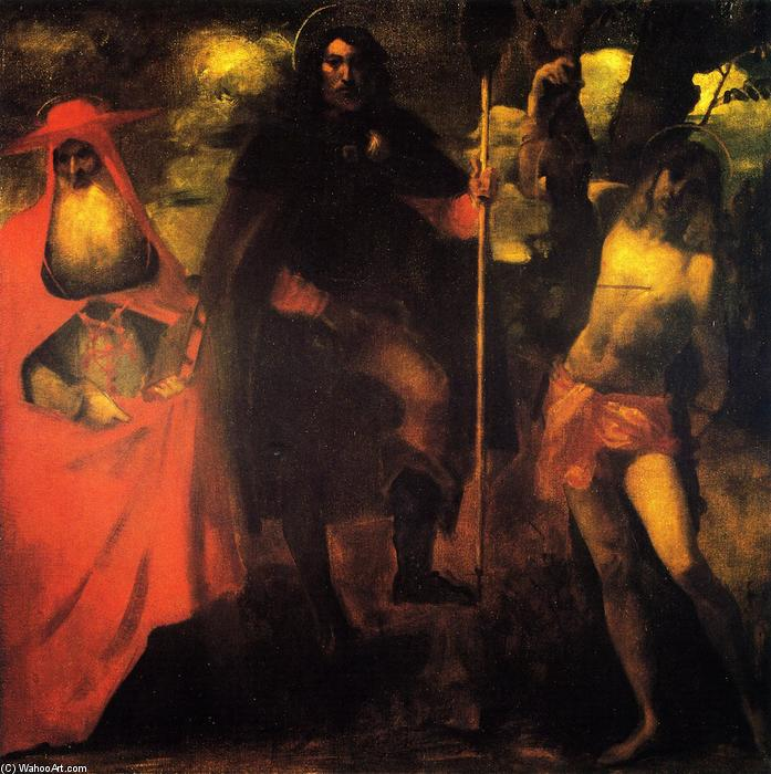 famous painting Saint Roch with Saint Jerome and Saint Sebastian (after a picture attributed to Alessandro Oliverio) of John Singer Sargent