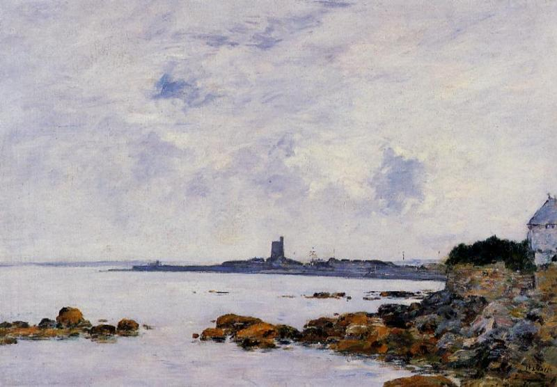 famous painting Saint-Vaast-la-Houghe, the Rocks and the Fort of Eugène Louis Boudin