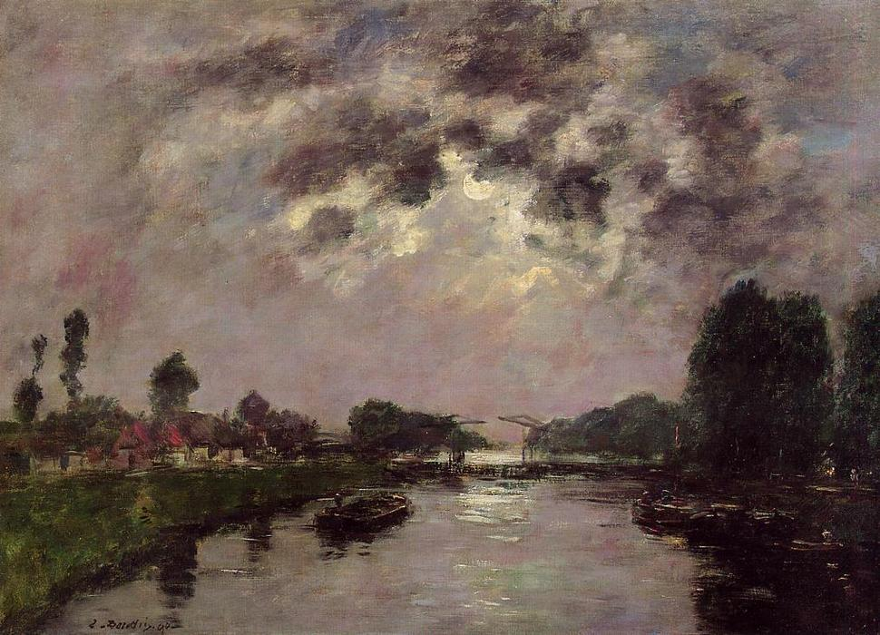 Order Oil Painting Impressionism : Saint-Valery-sur-Somme, the Canal d'Abbeville by Eugène Louis Boudin | TopImpressionists.com