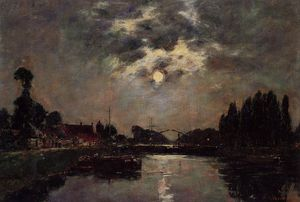 Eugène Louis Boudin - Saint-Valery-sur-Somme, Moonrise over the Canal