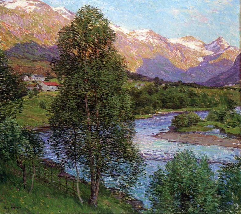 famous painting Salmon River, Norway of Willard Leroy Metcalf