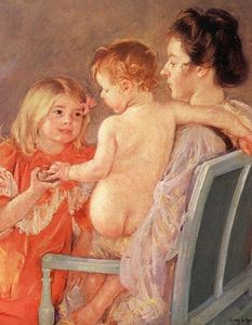 Mary Stevenson Cassatt - Sara Handing a Toy to the Baby