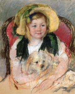 Mary Stevenson Cassatt - Sara with Her Dog, in an Armchair, Wearing a Bonnet with a Plum Ornament