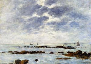Eugène Louis Boudin - Seascape at St. Vaast-la Hougue (Manche)