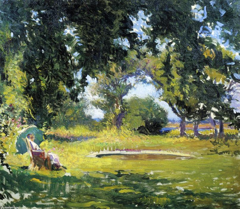 famous painting Seated Woman by a Pond (also known as My Wife in a Garden) of Edmund Charles Tarbell