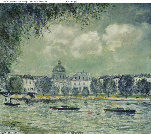 famous painting The Seine with the Institute of France of Alfred Sisley