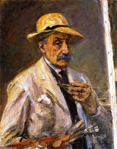 Max Liebermann - Self Portrait in Smock with Hat, Brush, and Palette