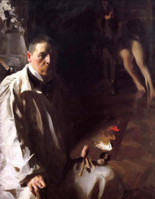 famous painting Self portrait with Model of Anders Leonard Zorn