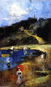 Charles Edward Conder - A Shady Hollow by a Dusty Road (also known as Pugh's Lagoon or A Cove on the Hawkesbury)