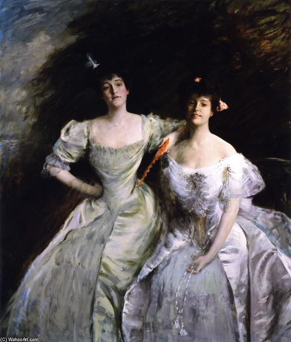 famous painting The Sisters (also known as The Sisters - Mrs. Sullivan and Mrs. Oskar LIvingston, The Sisters - Mrs. Oskar Livingston and Mrs. James Francis Sullivan) of William Merritt Chase