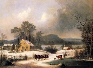 George Henry Durrie - A Sleigh Ride in the Snow