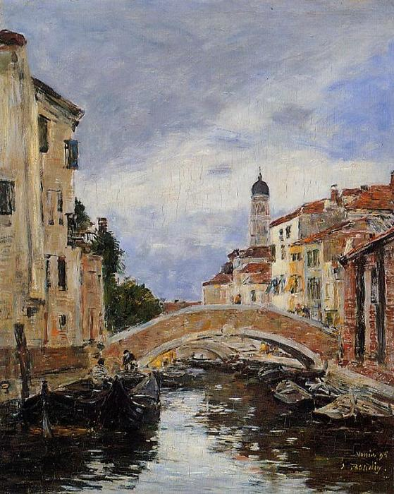 famous painting Small Canal in Venice of Eugène Louis Boudin