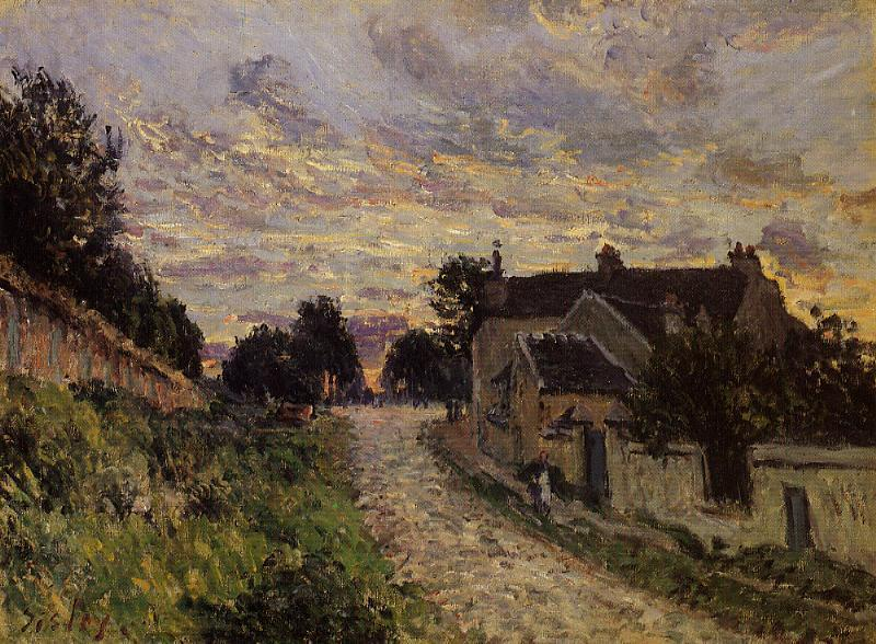 famous painting A Small Street in Louveciennes of Alfred Sisley