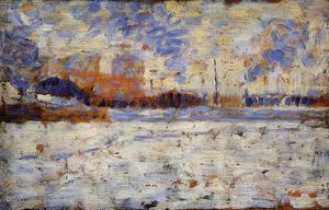 Georges Pierre Seurat - Snow Effect: Winter in the Suburbs