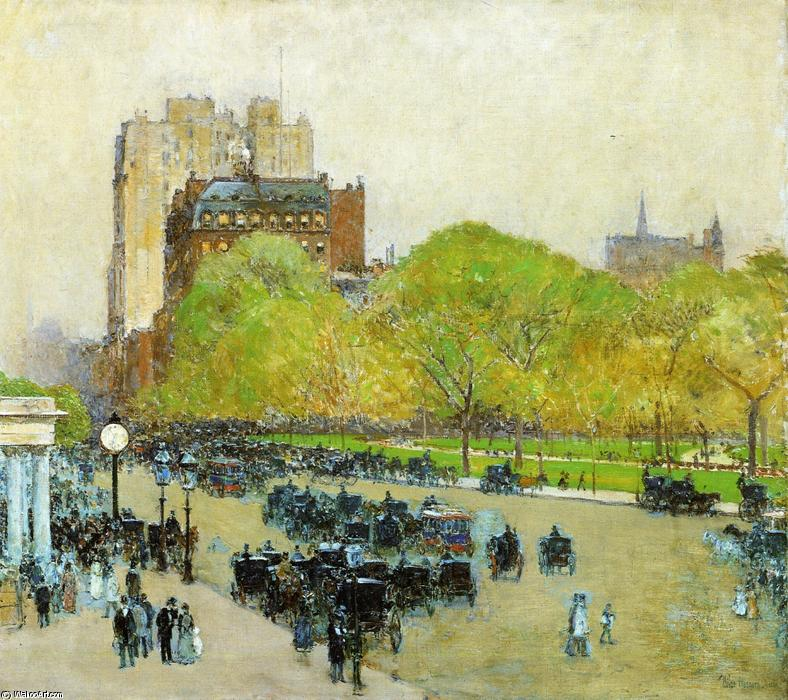 famous painting Spring Morning in the Heart of the City (also known as Madison Square, New York) of Frederick Childe Hassam