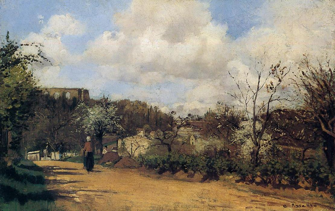 famous painting Springtime in Louveciennes of Camille Pissarro