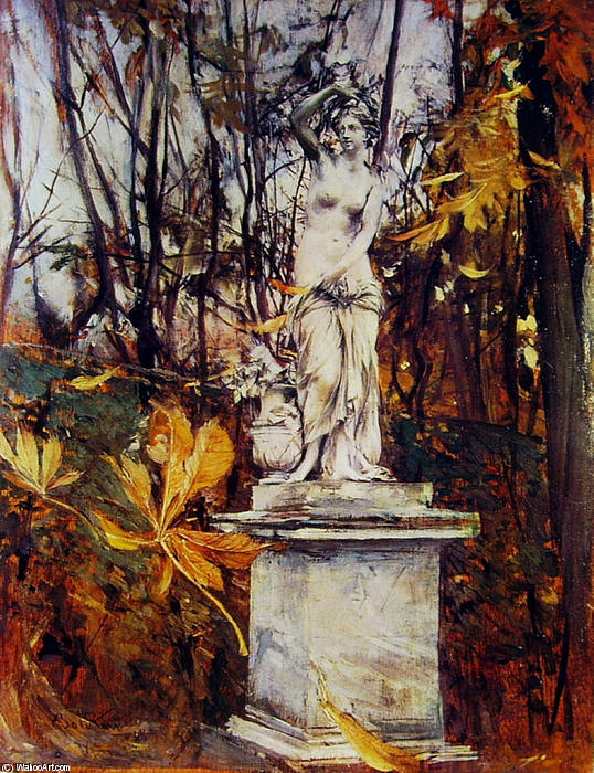 famous painting Statue in the Park of Versailles of Giovanni Boldini