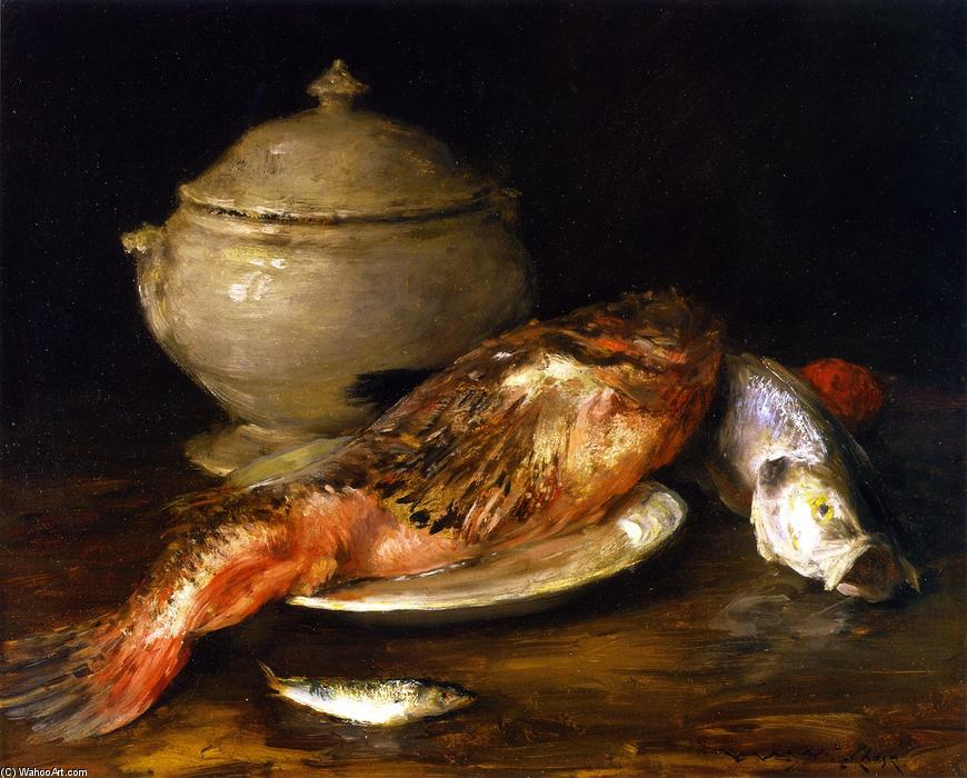 famous painting Still LIfe (also known as Fish from the Adriatic) of William Merritt Chase