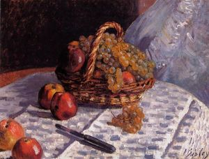 Alfred Sisley - Still Life - Apples and Grapes