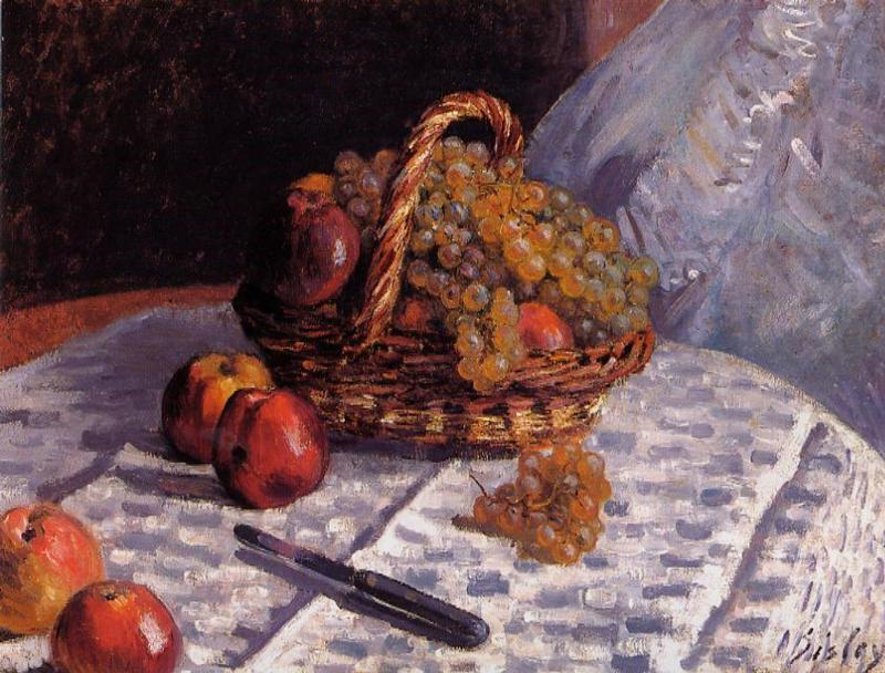 famous painting Still Life - Apples and Grapes of Alfred Sisley