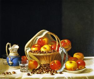 John F Francis - Still Life - Basket of Apples and Chestnuts on a Table