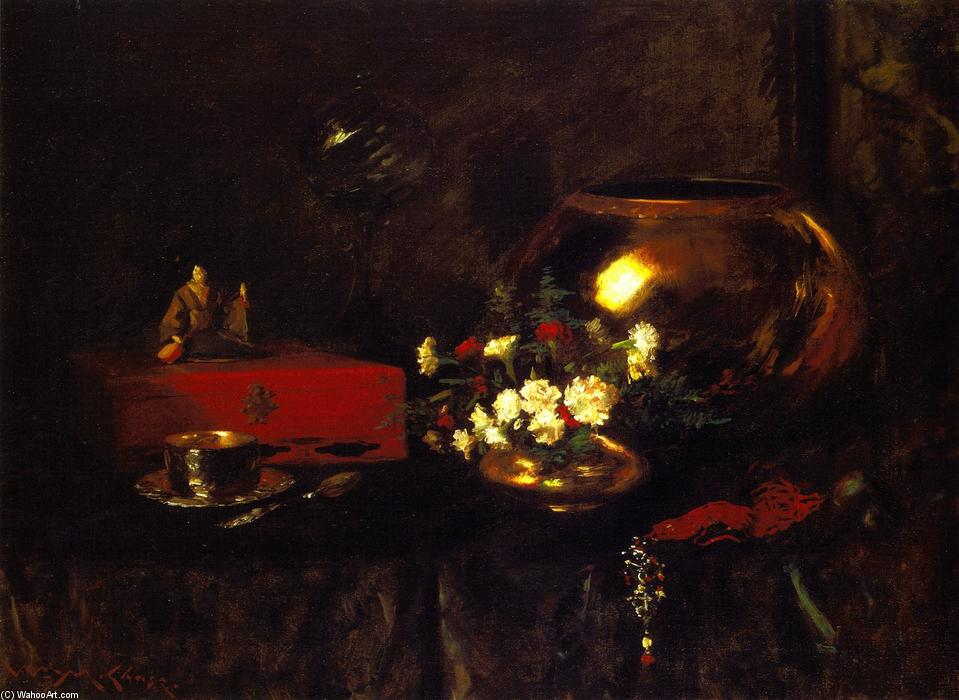famous painting Still LIfe - Brass Bowl of William Merritt Chase