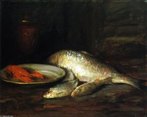William Merritt Chase - Still LIfe, Fish (also known as North River Shad)