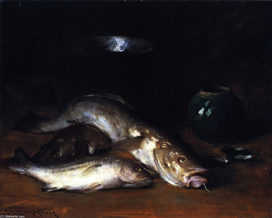 famous painting Still Life: Fish (also known as Fish and Green Bowl, Fish with Still LIfe) of William Merritt Chase