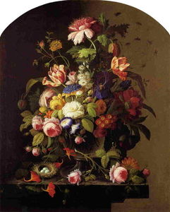 Severin Roesen - Still Life: Flowers