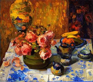Franz Bischoff - Still LIfe, Roses (also known as Roses on the Tea Table)
