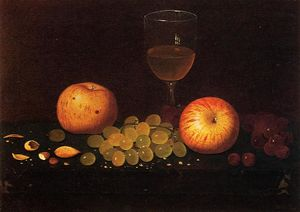 William Michael Harnett - Still Life with Apples, Grapes and Almonds