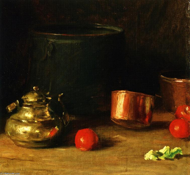 famous painting Still LIfe with Brass Kettle of William Merritt Chase