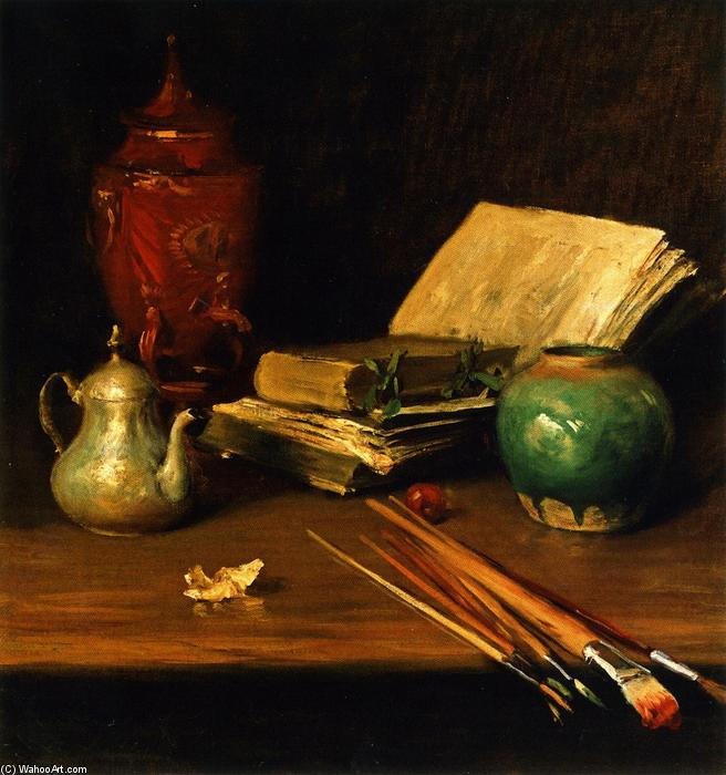 famous painting Still LIfe with Brushes and Pottery (also known as Paint Brushes and Pottery) of William Merritt Chase