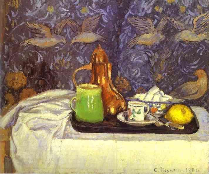 famous painting Still Life with a Coffee Pot of Camille Pissarro