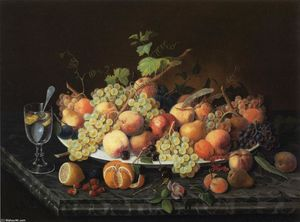 Severin Roesen - Still Life with Fruit and Glass of Lemonade
