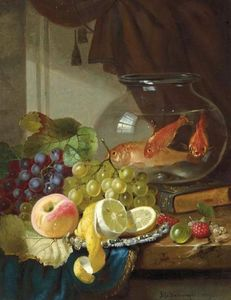John Wainwright - Still Life with Fruit and Goldfish in a Bowl on a Ledge