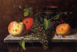 William Michael Harnett - Still Life with Fruit and Vase