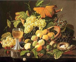 Severin Roesen - Still Life with Fruit, Bird's Nest and Wine Glass