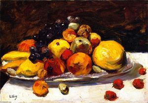 Lesser Ury - Still Life with Fruit on a White Table