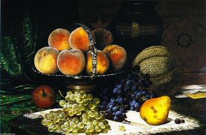 William Mason Brown - Still LIfe with Melon, Peaches, Books and Letrers