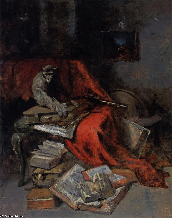 famous painting Still Life with Monkey (also known as Monkeying with Literature) of William Merritt Chase