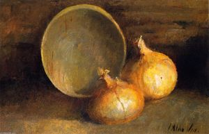 Julian Alden Weir - Still LIfe with Onions and Bowl