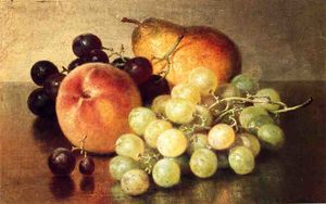 Robert Spear Dunning - Still Life with Peach, Pear and Grapes
