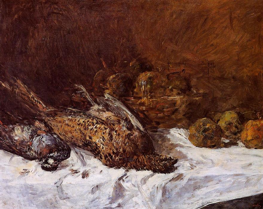 famous painting Still Life with Pheasants and a Basket of Apples of Eugène Louis Boudin