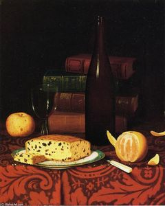 William Michael Harnett - Still Life with Raisin Cake, Fruit and Wine