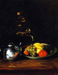 William Merritt Chase - Still LIfe with Teapot and Dish of Fruit