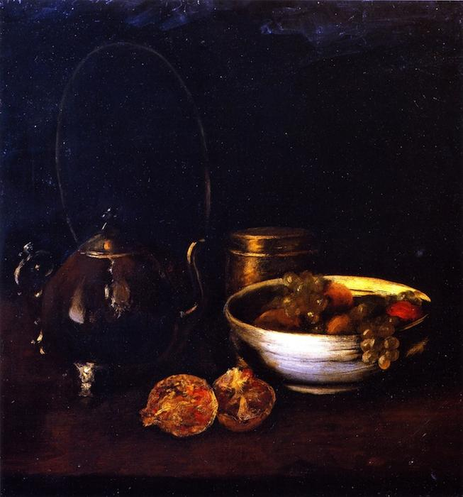 famous painting Still LIfe with Tea Kettle and Fruit of William Merritt Chase